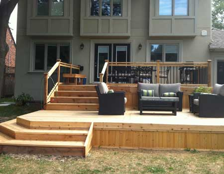 Cedar Deck Toronto. Custom Carpentry. Decks, Fences, Pergolas on Tiered Patio Ideas id=94555